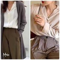 受注発注🇰🇷【LADIES】Back long side slit cotton shirt