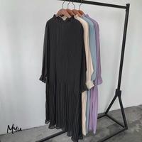 受注発注🇰🇷【LADIES】Frill High Neck Pleats Long Dress フリル ハイネック プリーツ ワンピース