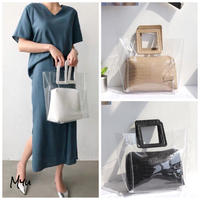 【LADIES】Square Handle Clear Tote Bag スクエアハンドル クリアトートバッグ ポーチ付き