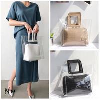 【LADIES】Square Handle Clear Tote Bag スクエアハンドル クリアトートバッグ ポーチ付き