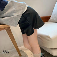 【80-150cm】Synthetic Leather Short Pants フェイクレザーショートパンツ
