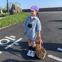 【80-150cm】SHIRT チェック柄ロングシャツ