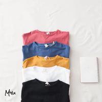 【80-130】Round Neck Cotton Long T-shirt ラウンドネックコットンロングTシャツ