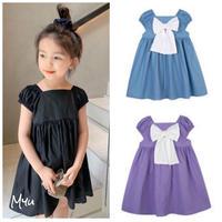 【80-150cm】Back Big Bow Cotton Dress バックビッグリボン コットン ワンピース