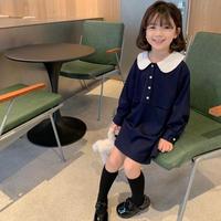 【80-150cm】DRESS 丸襟カレッジスタイルワンピース