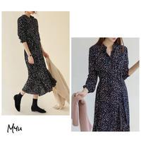 受注発注🇰🇷【LADIES】Side Slit Leaf Print Dress