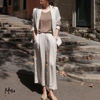 【LADIES】Linen Blend  Wide Pants リネンブレンドワイドパンツ