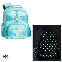 お急ぎ便対応 受注発注🇺🇸【Small】Pottery Barn Mackenzie Aqua Multi Heart Glow-in-the-Dark Backpack