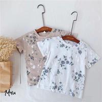 【80-130cm】Flower Emboss & Print T-shirt 花柄エンボス&プリントTシャツ