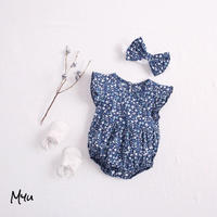 【66-90cm】Floral Frill Baby Rompers  花柄フリルベビーロンパース ヘアバンド付き