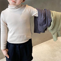 【90-130cm】TOPS シンプルハイネック ロングTシャツ