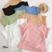 【80-120cm】Solid Frill T-shirt 袖フリルTシャツ