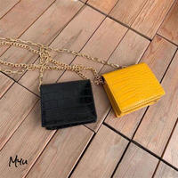 【LADIES】Fake Leather Chain Mini Wallet Pouch フェイク クロコ型押し チェーンミニ財布ポーチ