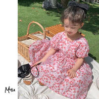 【90-150cm】Floral Back Botton Puff Sleeve Dress 花柄 後ろボタン パフスリーブ ワンピース