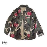 受注発注【90〜140cm】Army flower shirt