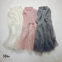 SALE 【100-120cm】Knit Tulle Dress ニットチュールワンピース