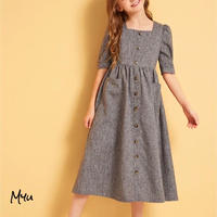 お急ぎ便対応 受注発注🇺🇸【親子 120〜160cm】Puff sleeve button up fit & flare dress