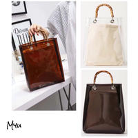 【LADIES】Bamboo Handle Clear Tote Bag バンブーハンドル クリア トートバッグ A4