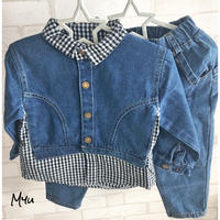 即納【90〜120cm】Gingham check denim set up