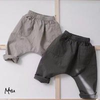 【90-130cm】Big Pocket Cotton Pants 大きめポケット付き 綿ズボン