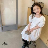 【90-150cm】Cotton Jacquard Puff Sleeve Dress コットンジャガード パフスリーブ  ワンピース