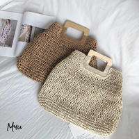【LADIES 】Wood Handle Side Button Square  Basket bag 木製ハンドル サイドボタン スクエア カゴバッグ