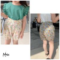 【90-150】High  Waist Floral Cotton Short Pants ハイウエスト花柄ショートパンツ