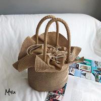 【LADIES】 Flower  Purse Basket bag お花型巾着カゴバッグ