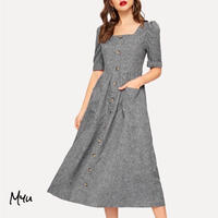 受注発注【親子 Mom】Puff sleeve button up fit & flare dress
