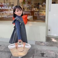 【80-150cm】DRESS ウール混 バッククロス フリルジャンパースカート