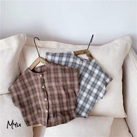 【80-130cm】Cotton Linen Plaid Collarless Shirt  綿麻チェック柄 ノーカラーシャツ