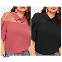 お急ぎ便対応  受注発注🇺🇸【LADIES】Mesh panel flounce sleeve blouse