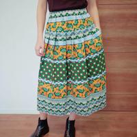 アフリカカンガ風 ヨーク付きスカート グリーン×オレンジ