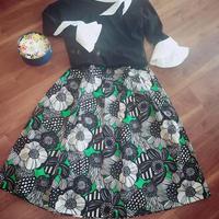 マリメッコ風 ヨーク付きスカート グリーン