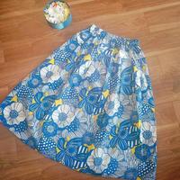 マリメッコ風 ヨーク付きスカート ブルー
