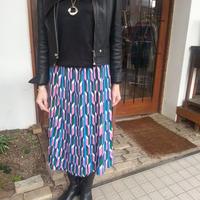 新作★レトロなピンクのプリーツスカート★