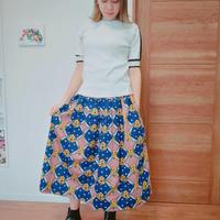 レトロ風 ヨーク付きスカート 紺×レッド