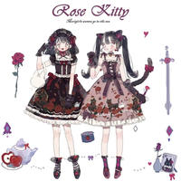 薔薇と黒猫のワンピース/JSK