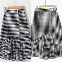 チェックのフリル巻きスカート【2種類】