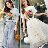 水玉チュールスカートとシャツのセット