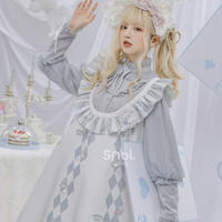【森女部落】ディズニー公認☆不思議の国のアリスロゼット付きダイヤ柄ワンピース