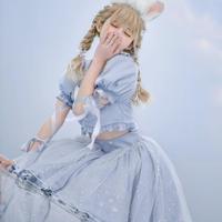 【お取り寄せ】【森女部落】ディズニー公認☆不思議の国のアリス編み上げお袖セットアップ