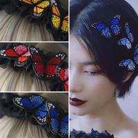刺繍蝶カチューシャ&ヘアピン2個セット