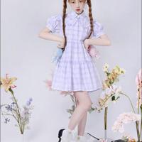 【紫ラストワン!】【DEAR栗】サンリオ公認☆リトルツインスターズチェックワンピース
