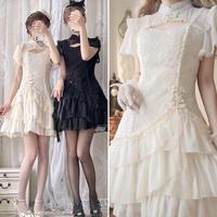 【ご予約】編み上げフリルチャイナドレス(2色)