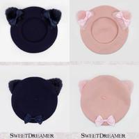 【お取り寄せ】リボン付き猫耳ベレー帽