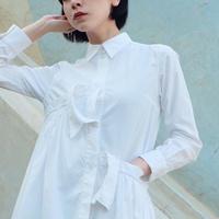 [Akihide Nakachi] asymmetry long shirts -white-
