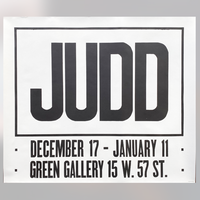Don Judd Exhibition Poster, Green gallery 1963