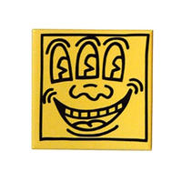 Keith Haring Rectangular Magnet (Three Eyed Face)  Yellow