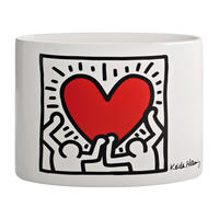 Keith Haring Vase (White/Holding Heart)